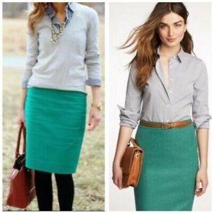 J. CREW Wool Blend Emerald Green Pencil Skirt